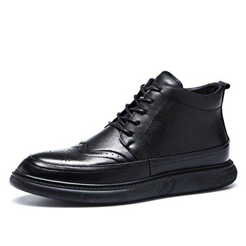 en Cuir LEDLFIE de Marée Chaussures Sculpté Haut Hommes Bas Haut Black Bullock Chaussures Souple qRHq1