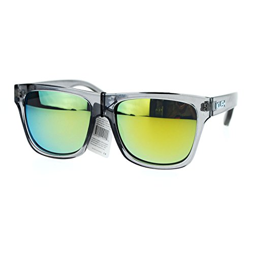 Kush Translucent Slate Gray Frame Yellow mirrored Lens Hipster horned - Hipster Glasses Guys