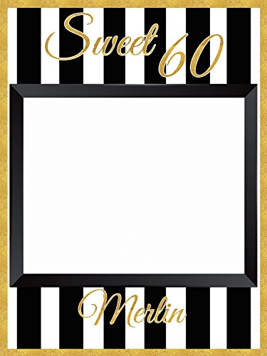 Custom Gold Trim Sweet 60 Birthday Party Photo Booth Prop - sizes 36x24, 48x36; Personalized Sweet 16 Photo booth Golden Birthday Party Home Decorations, Handmade Party Supply Photo Booth (Halloween Sweet Names)