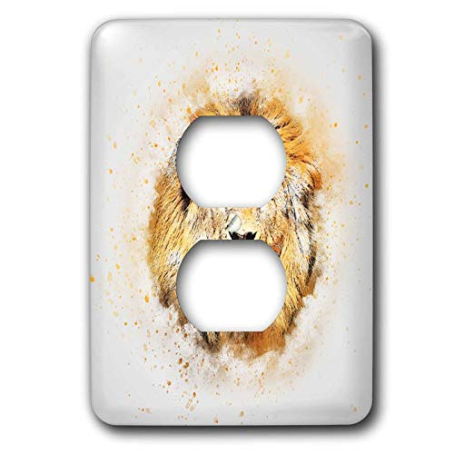 3dRose lens Art by Florene - Watercolor Art - Image of Portrait Painting Of Majestic Lion - Light Switch Covers - 2 plug outlet cover (lsp_300361_6)