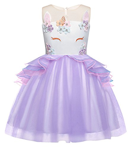 Dress Up Gown - Cotrio Baby Girls Unicorn Costume Dress Pageant Party Dresses Flower Evening Gowns Tutu Dress Size 4T (3-4Yrs, Purple)