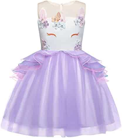 Cotrio Unicorn Costume Dress Pageant Party Dresses Flower Evening Gowns Tutu Dress