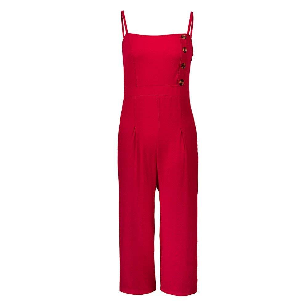 Ladies Fashion Elegant Jumpsuit Women Jumpsuits Elegant Wide Leg Sleeveless High Waisted Summer Pants Red M by GWshop (Image #4)