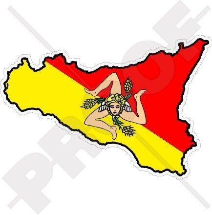SICILY Sicilian Map-Flag ITALY 4.3