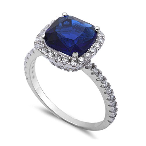Solitaire Accent Halo Wedding Ring Brilliant Cut Cushion Simulated Sapphire Round CZ 925 Sterling Silver (Brilliant Cut Blue Sapphire Ring)