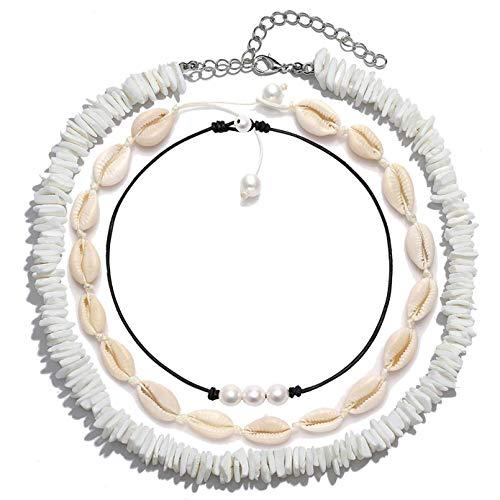 (FENBORY Natural Puka Chips Shell Necklace 3 Pearl Choker Handmade Hawaiian Cowrie Beach Choker Necklace for Women Men)