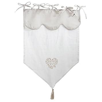 Rideau Blanc et Beige en Lin et Coton Motif Coeur: Amazon.fr ...