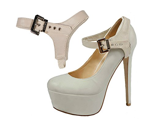 Eliza May Detachable Shoe Straps - To Hold Loose Heels, Wedges, Flats Beige Patent