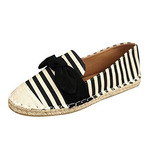 Midress Espadrille Sneakers for Women,Women's Ladies Ankle Flat Loafers Slip On Comfortable Shoes Stripe Canvas Casual Shoes