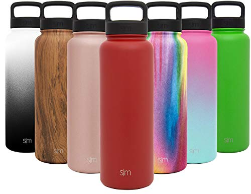 Simple Modern 40 oz Summit Water Bottle - Stainless Steel Liter Flask +2 Lids - Wide Mouth Tumbler Double Wall Vacuum Insulated Red Leakproof -Cherry