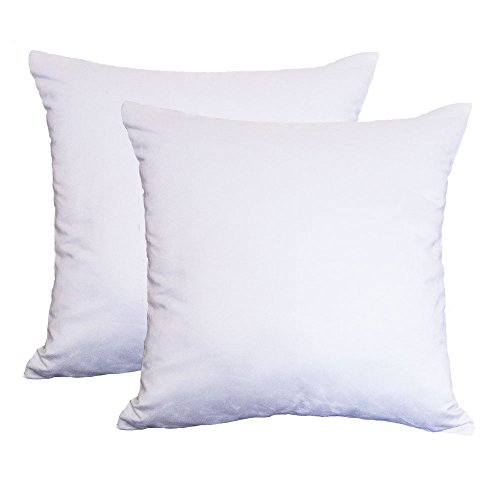 Set of 2 Jahosin Faux Suede Cushion Cases 18 X 18 Inches ,Cleanly Pure White Decorative Throw Pillows Covers Super Comfortable Soft for Sofa Living Room (Faux white) (Suede Set Room Living)