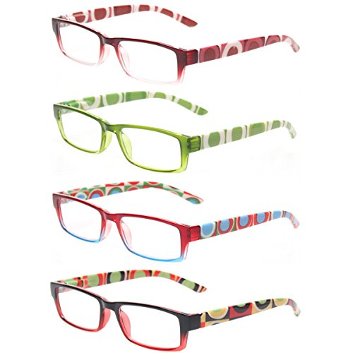 Reading Glasses 4 Pairs Quality Spring Hinge Stylish Designed Women Glasses for Reading (1.50, 4 Pack Mix Color)