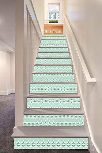 (Green 3D Stair Riser Stickers Removable Wall Murals Stickers,Stylized Stars Vintage Pattern Retro Colors Seventies Style Decorative,for Home Decor 39.3