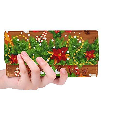 Unique Custom Christmas Tree Holly Wreath New Year Women Trifold Wallet Long Purse Credit Card Holder Case Handbag