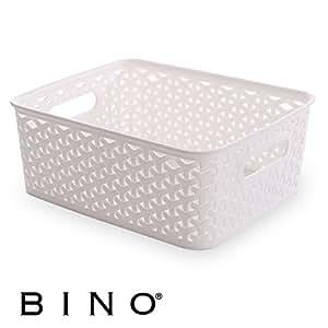 BINO T-Weave Woven Plastic Storage Basket, Small (White)