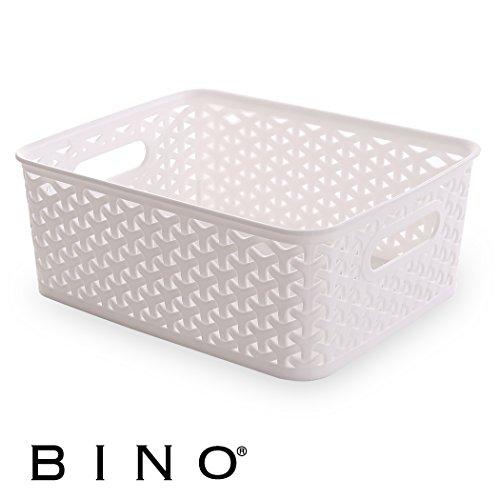 BINO T-Weave Woven Plastic Storage Basket, Small (White) (Plastic Weave)