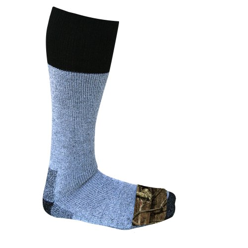 Heat Factory Acrylic Blend Socks with Foot Heat Warmer Pockets, 2 Pairs, Mossy Oak/Grey, Medium/Large