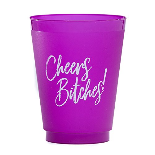 Cheers Bitches! Frost Flex Purple Party Cups, 16oz - Set of 10 | Bachelorette & Parties