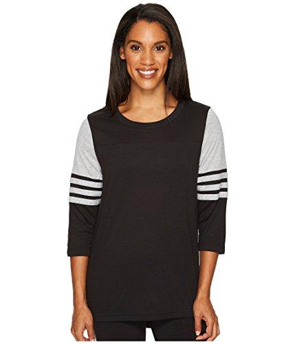 adidas Women's Long Sleeve Jersey Top Q4 Black/Medium Grey Heather Large