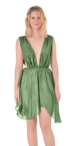 Marycrafts Womens Sexy Silk Hi Lo Fairy Drape Skirt Dress Sundress 06 Green (Green Fairy Dress)