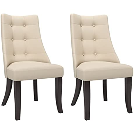 CorLiving Antonio Dpp 811 C Button Tufted Woven Upholstered Padded Dining Accent Chairs Set Of 2 Cream