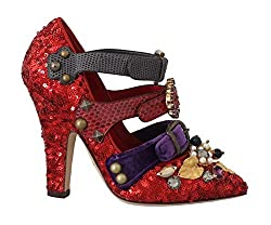 Red Sequined Crystal Stud Heels