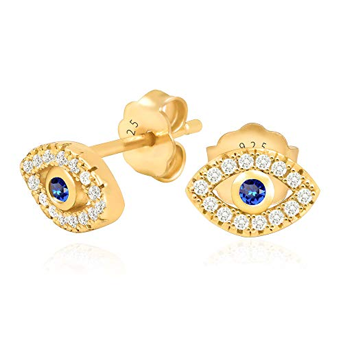 - 14k Yellow Gold Plated 925 Sterling Silver Cubic Zirconia Mini Evil Eye Jewish Post Stud Earrings