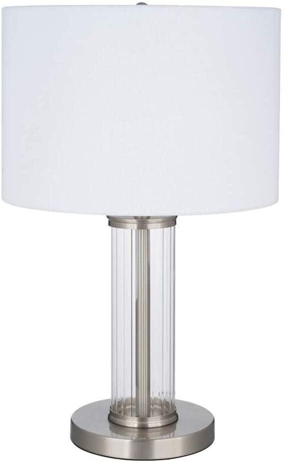 Ravenna Home Clear Ribbed Glass Cylinder Table Lamp with LED Light Bulb - 21 Inches, Brushed Nickel