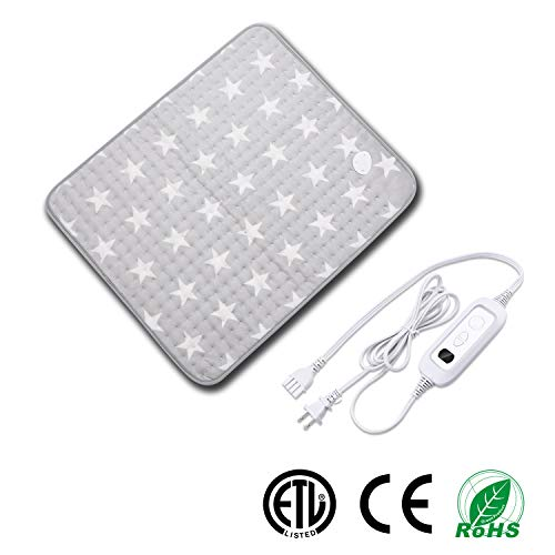 Heating Pad for Muscle Pain Relief with Strap, Electric Heat Therapy Heating Pad with Auto Shut-Off, Fast Heat-up with 6 Heating Levels,Super Soft Material (23.6''x19.7'', Gray-Star Pattern) (Best Heating Pad For Pregnancy)