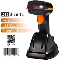 Tera Wireless Barcode Scanner kabellos 2D 1D Funk qr 3 in 1 Ladegerät Laser Handscanner Lesegerät 500 Scans/Sek 4 Mil Auflösung 100m Reichweite präzises und schnelles Lesen