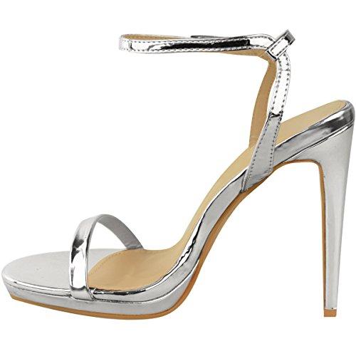 Sandalias De Tacón De Aguja De Moda Para Mujer Stiletto Barely There Zapatos De Plataforma De Fiesta Tamaño Plata Metálico