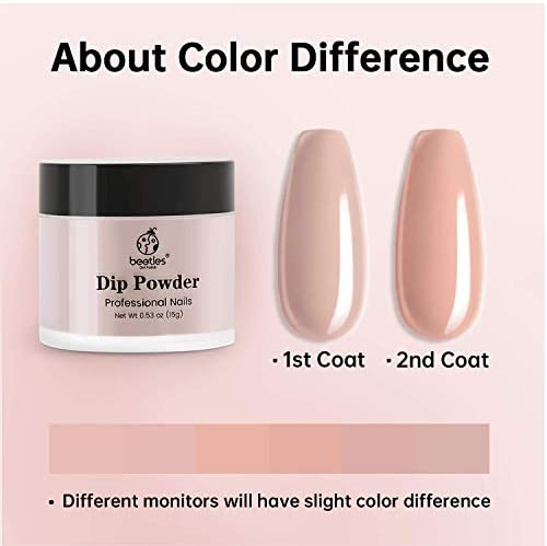 Beetles Dipping Powder 6 Colors Nude Pink Glitter Dip Nails Kit Starter Dip Powder System for French Nail Dip Set Manicure Nail Art Set,No LED Nail Lamp Needed, 0.53 fl.Oz/Each
