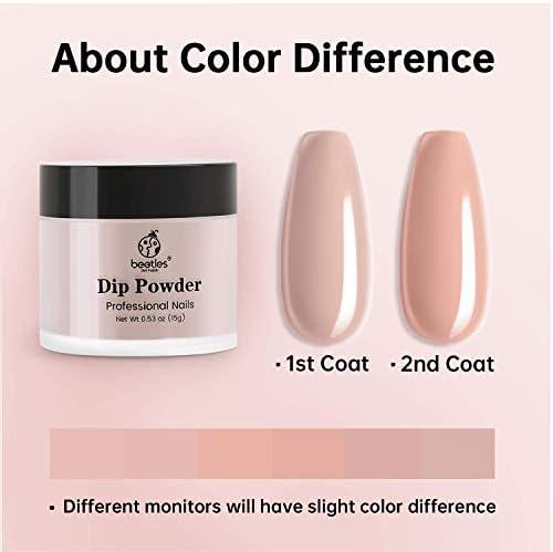 Beetles Dipping Powder 6 Colors Nude Pink Glitter Dip Nails Kit Starter Dip Powder System for French Nail Dip Set Manicure Nail Art Set,No LED Nail Lamp Needed, 0.53 fl.Oz/Each