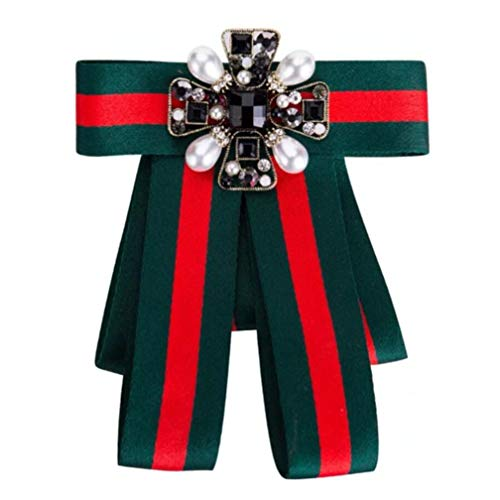 Ribbon Crystal Men/Women Pre-Tied Neck Tie Brooch Pin Bow Tie Patriotic Collar Jewelry Gift (Green3)