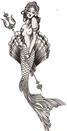 ND tatuaje temporal mujer Tattoo Ephemere adhesivo sirena: Amazon ...