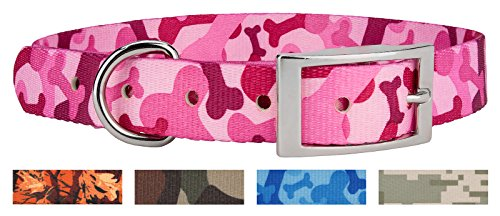 Country Brook Design | Pink Bone Camo Traditional Dog Collar - - D-ring Bones