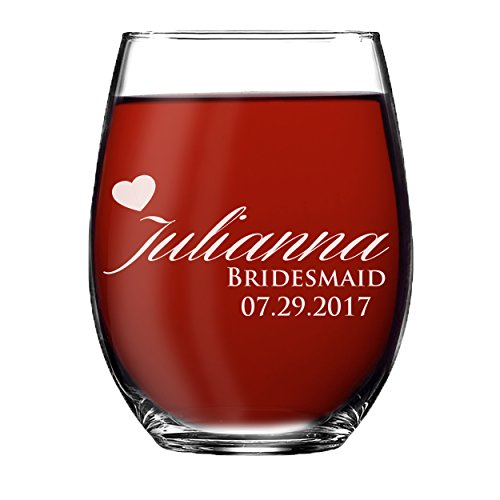 Monogrammed Stemless Wine Glass - Personalized Engraved Bridesmaid Maid of Honor Wedding Party Gift ()
