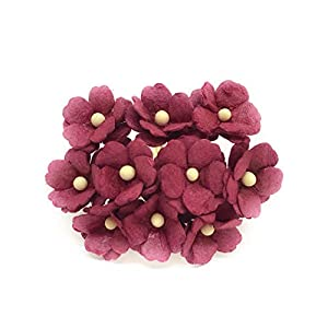 1.5cm Maroon Mulberry Paper Flowers, Maroon Paper Hydrangea, Wedding Flowers, Wedding Decor, Wedding Table Flowers, Maroon Wedding, Artificial Flowers, 50 Pieces 59