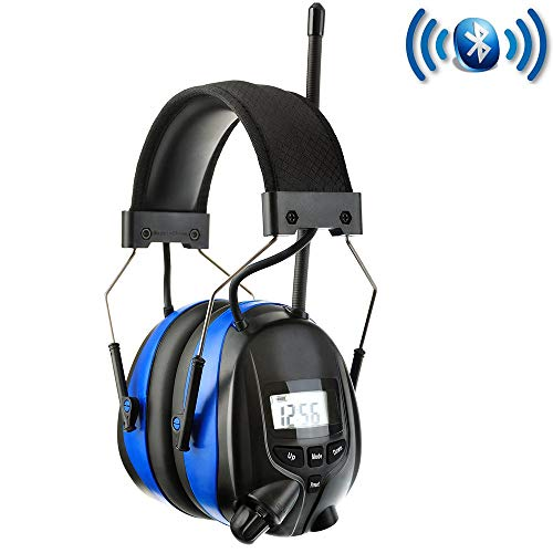 PROTEAR Noise Reduction Wireless Earmuffs with Bluetooth AM FM Digital Radio,NRR 25dB Professional Ear Hearing Protection Headphones with Rechargeable Battery,Electronic Ear Defenders for Mowing ()