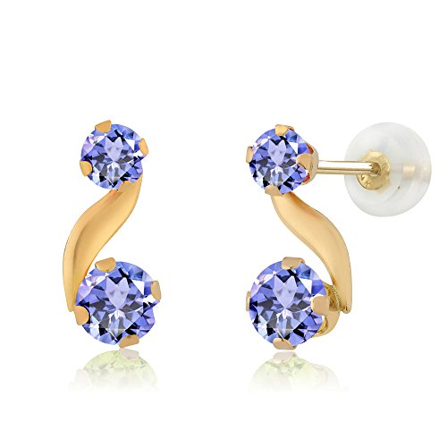 Gem Stone King 0.84 Ct Round Cut Blue Tanzanite 14K Yellow Gold Stud Earrings