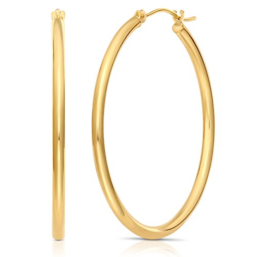 (14k Gold Round Polished Hoop Earrings, 2