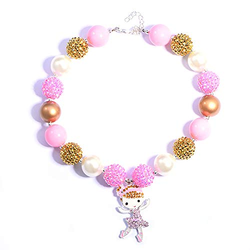 Candy Pink Ballerina - BUENAVO Chunky Bubblegum Necklace Ballerina Dancing Girl Pendant Fashion Beads Baby Jewelry Children Necklace Birthday Outfit with Gift Box and Greeting Card (Pink)