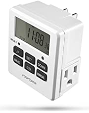 FosPower Timer Outlet [ETL Listed] 125V/15A LCD Digital Indoor Outlet Timer, 7 Day Programmable Timer with 2 AC Plug Capacity for Lights, Lamps, Fans & Electrical Outlets