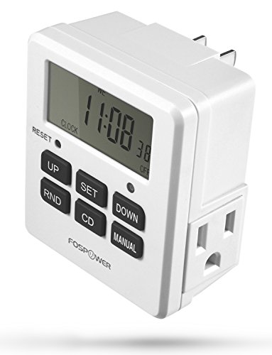 FosPower Timers for Electrical Outlets [ETL Listed] 125V/15A LCD Digital Outlet Timer, 7 Day Programmable Light Timer with 2 AC Plug Capacity for Lights, Lamps, Electrical Outlets