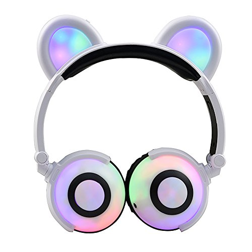 Kids Headphones Over Ear USB Charging Wired Ear Earphones with Glowing Lights Cosplay Animal Ear Style Fancy Foldable Earphones White ()
