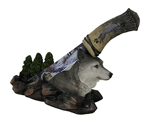 DWK Rustic Spirit Wolf Forest Centerpiece with Stainless Steel Display Knife Wildlife Decor for Rustic Cabin & Lodge Decor ()
