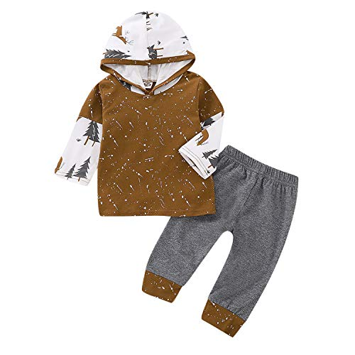 Evelin LEE Unisex Baby 2pcs Outfits Long Sleeve Hooded Pullover Sweatshirts&Long Pants Brown