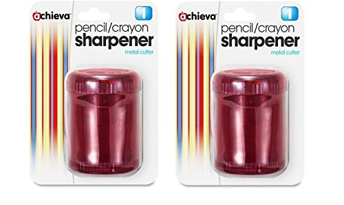 Crayon Pencil Sharpener - Officemate Pencil/Crayon Sharpener, Twin, Red (OIC30240) Set of 2 Sharpeners