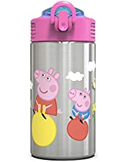 Zak Designs Peppa Pig 15.5oz Stainless Steel Kids Water Bottle with Flip-up Straw Spout - BPA Free Durable Design, Peppa Pig SS