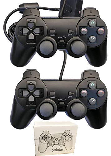 Saloke Wired Controllers for PS2 Playstation 2,Remote Joystick Gamepad for Dual Shock(Black and Black) (Ps2 Sony Multi Tap)